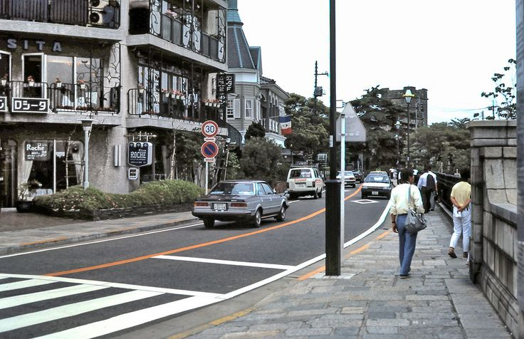 The Bluff. Yokohama, Japan 1985. An area of old European buildings including some French-service restaurants.