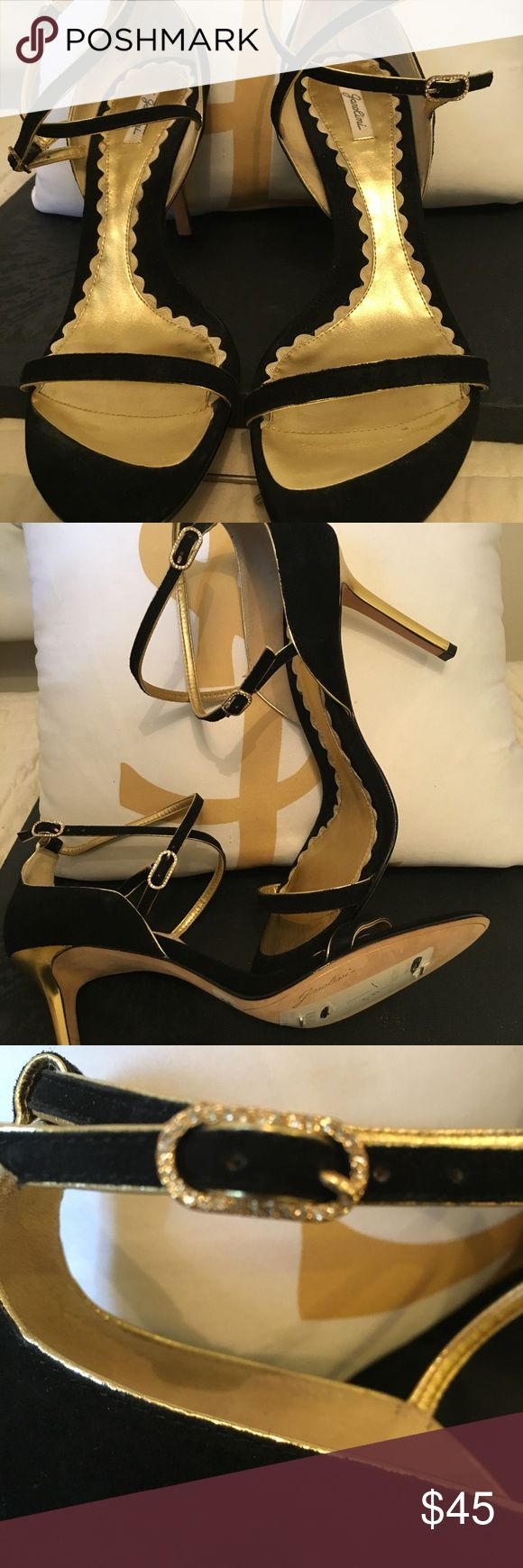 Garolini black suede and gold strappy shoe NWOT Garolini Strappy black suede and gold evening shoe. Gold heels, gold inlay lining, gold trim, leather sole, just gorgeous gold details  in fasteners. ELEGANT!!! Never worn Garolini Shoes Heels