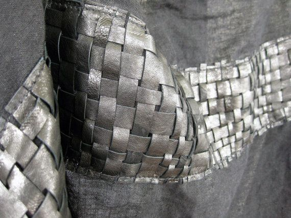 Linen scarf with woven leather panel - fabric manipulation; contemporary weaving; fashion design detail