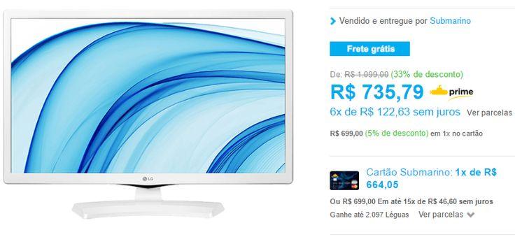 """TV LED 24"""" LG HD 24MT48DF-WS 1 HDMI 1 USB 60Hz com Conversor Digital Integrado << R$ 69900 >>"""