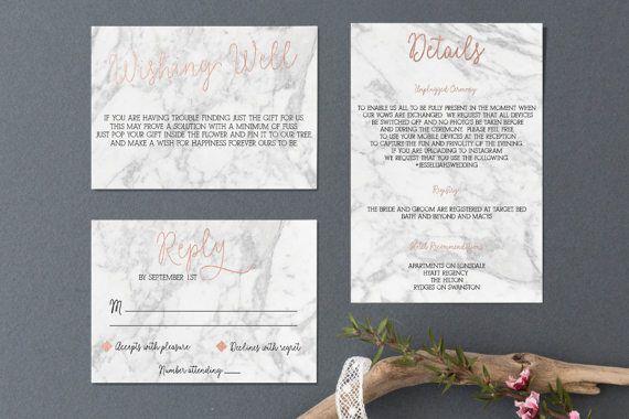 Printable Wedding Invitation // Marble by MaddisonRoyDesign