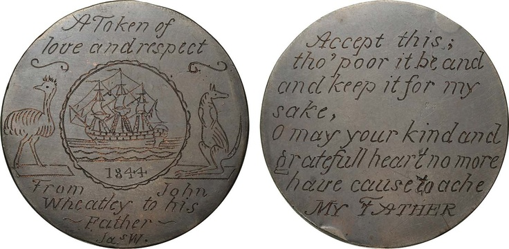 Australian convict token engraved on both sides of an 1806 British penny, 1844