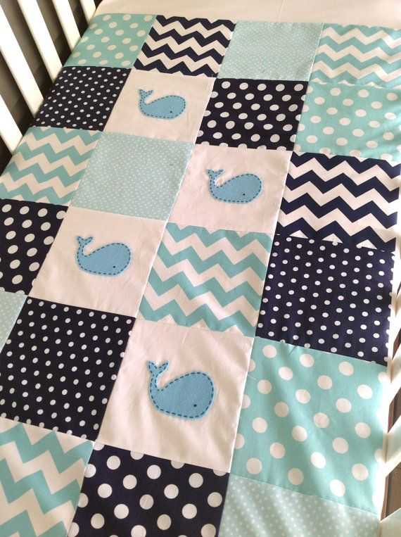 Moby Baby boy Whale Quilt..navy and aqua made by AlphabetMonkey This one is better!!