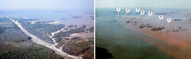 As Cataratas do Iguaçu não eram as únicas ali na região de Foz do Iguaçu. Na divisa entre o Brasil e o Paraguai existiam as Sete Quedas, um conjunto de cachoeiras localizadas no Rio Parana. Elas não eram tão altas, mas possuíam um poder de vazão muito forte e um barulho ensurdecedor. Porém em 1982 as cachoeiras foram praticamente demolidas para a construção da Usina de Itaipu. Na época as pessoas se reuniram por diversos dias para se despedir das cachoeiras.