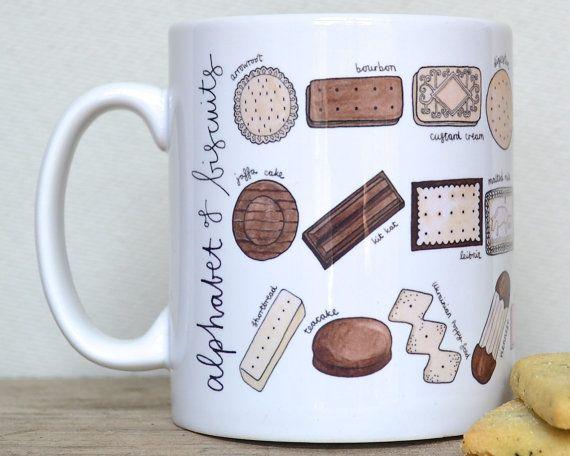 Biscuit Alphabet Mug Free UK Postage by BeckaGriffin on Etsy