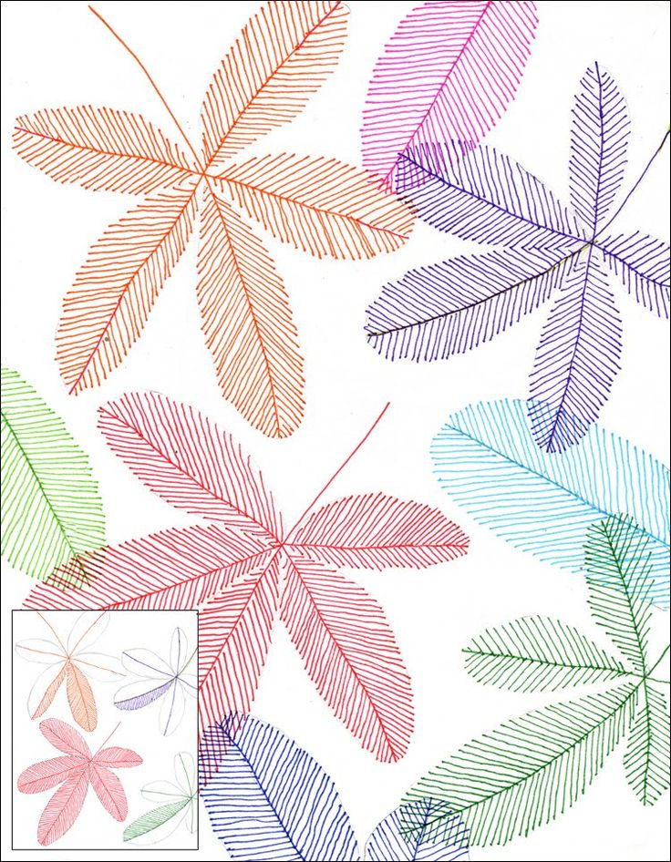 Art Projects for Kids: Marker Line Leaves