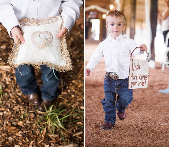 How cute is this ring bearer at this country farm wedding??