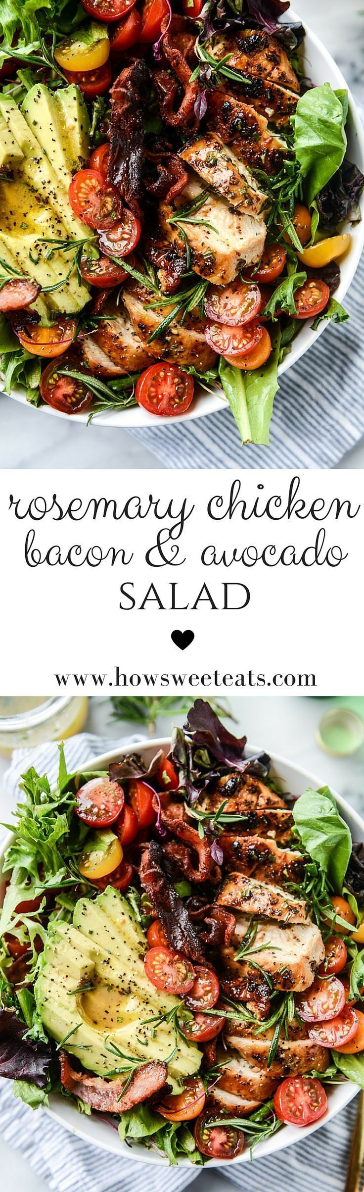 Rosemary Chicken, Bacon and Avocado Salad by /howsweeteats/ I http://howsweeteats.com #rosemarychicken #bacon #avocado #salad #howsweeteats