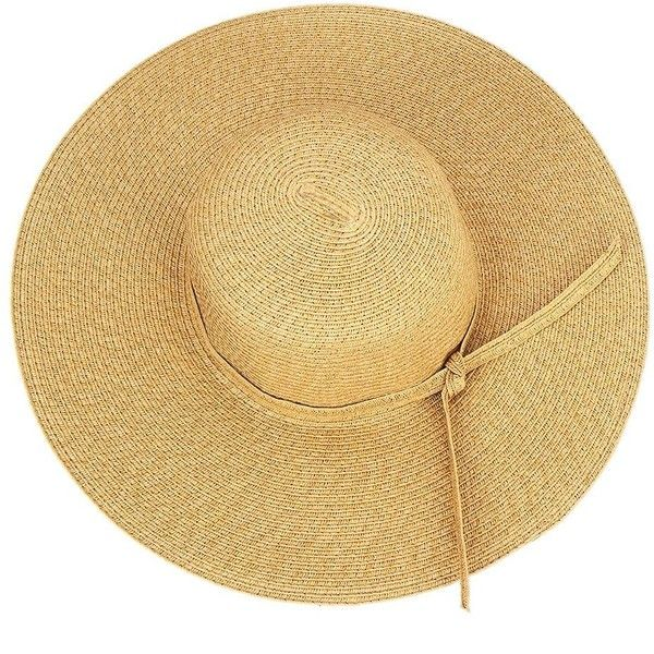 Yoins Khaki Wide Brim Beach Sun Visor for Women Floppy Straw Hat ($12) ❤ liked on Polyvore featuring accessories, hats, wide brim straw hat, summer floppy hat, visor hats, flop hat and beach hats