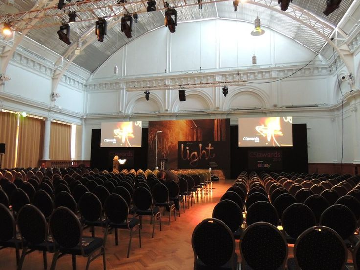 Theater layout for a conference at the Lindley Hall