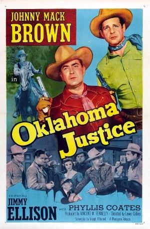 Directed by Lewis D. Collins. With Johnny Mack Brown, James Ellison, Lane Bradford, Phyllis Coates. Johnny Mack Brown, operating out of the Marshal's office, poses as a band bandit and stage robber, aided by his friend, stage driver Clancy, in order to learn the identity of a gang that has been pulling off stagecoach and bank robberies. The gang is headed by widowed ranch owner Ma Posey and includes Blackie Marshall, Deuce Logan, Tad and a traveling bank examiner, Fleming, who tips the g...