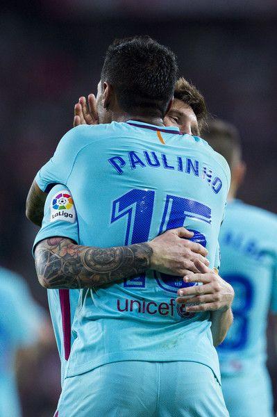 Simple Paulinho Photos Paulinho of FC Barcelona celebrates with his teammates Lionel Messi of FC Barcelona