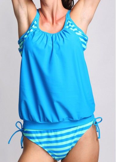 Open Back Top and Stripe Print Panty Tankini on sale only US$27.01 now, buy cheap Open Back Top and Stripe Print Panty Tankini at lulugal.com