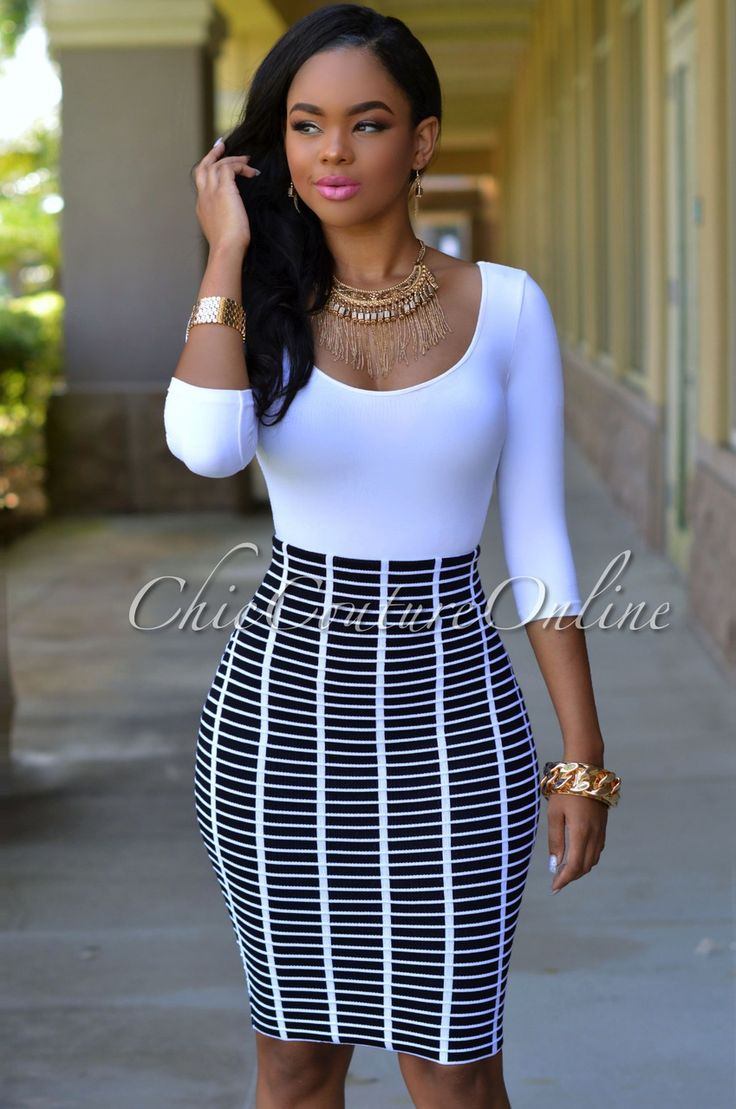 Chic Couture Online - Cooper Black White Knit Body-Con Skirt, (http://www.chiccoutureonline.com/cooper-black-white-knit-body-con-skirt/)
