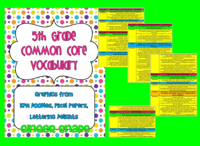 Ginger Snaps: 5th Grade Common Core Vocabulary