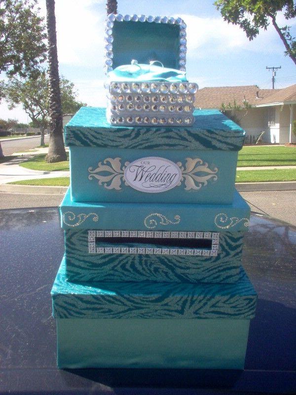 another card box ideacuz i love turquoise and bling wedding cardwedding wishesdiy