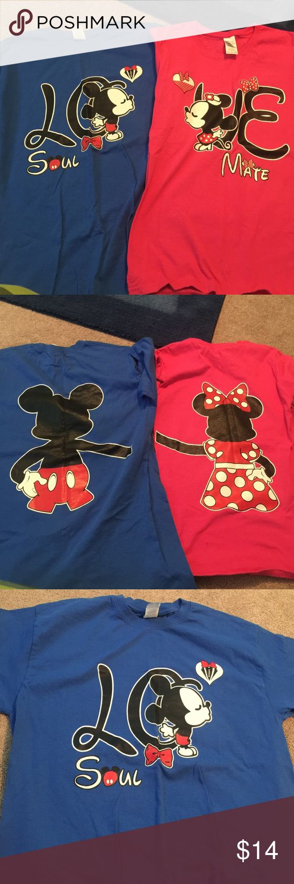 His and her's Disney shirts Disney world Pink: women's small Blue: men's medium. I didn't get to wear them in Disney because it was so HOT! °o°. Magic kingdom ❤️ honeymoon & wedding Disney world Tops Tees - Short Sleeve
