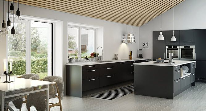 Kitchen, White Concrete Lamps Chrome Single Faucet Black Kitchen Island Candle Holder Dinning Table Dinning Chair Cream Wooden Floor Glass Window And Glass Door ~ Elegant Traditional Kitchen Design: Adopting Pretty Nordic Styles