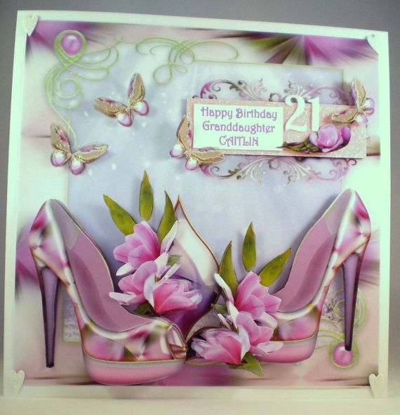 Personalised Handmade Large 21st Birthday Card by DianesDecoupage