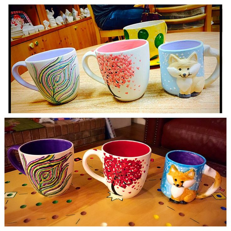 Color me mine mugs before after color me mine for Pottery painting patterns