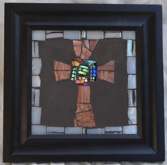 Small Cross copper glass tile by DonnaHollanderMosaic on Etsy