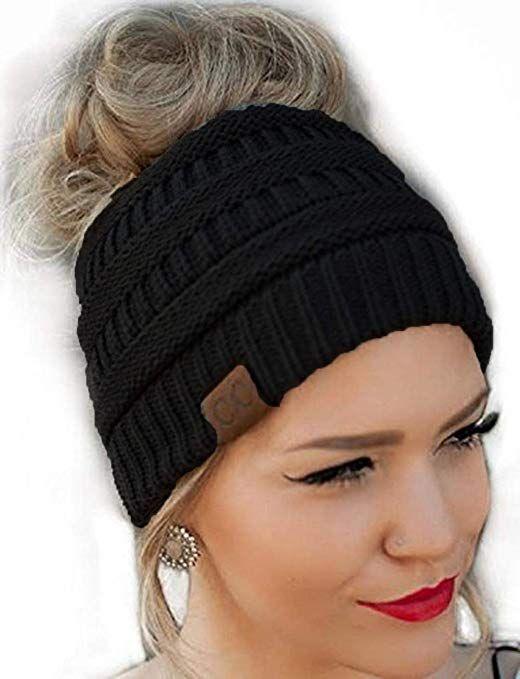 5b60438169e300 Messy Bun Hat Beanie CC Quality Knit (Black)   Accessories   Hats ...