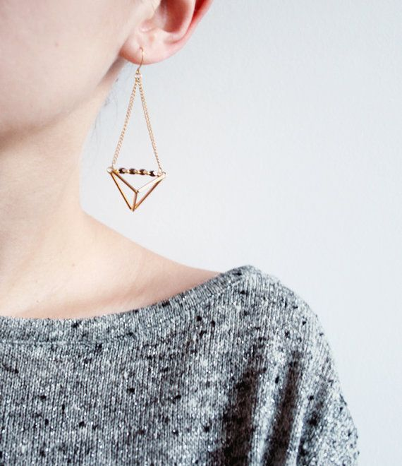 Geometric triangle pyramid metallic dangle earrings, geometric earrings.