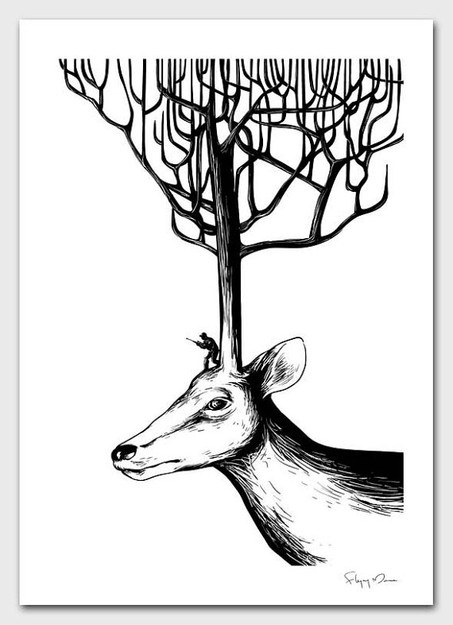 Hide and Seek: Deer Art, Hiding, Totes Bags, Antlers Trees, Illusions Artworks, Fly Mouse2007, Mouse 365, Seek, De Fly
