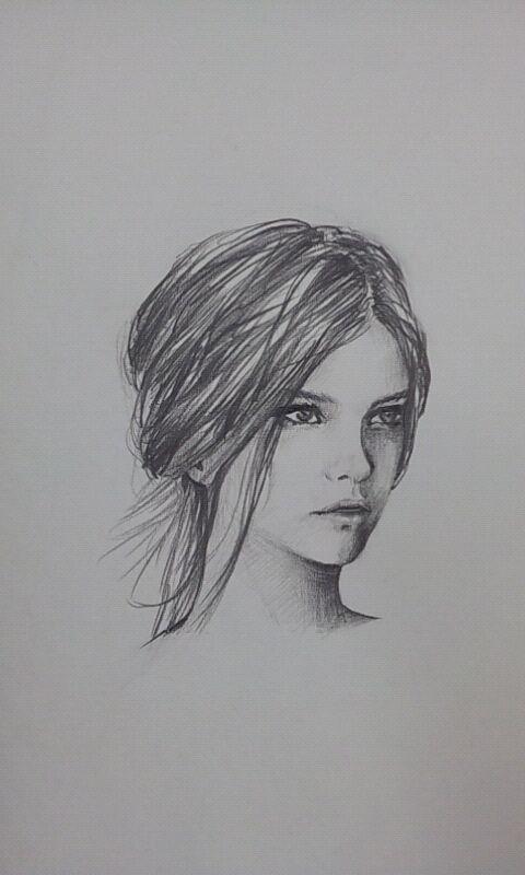 연필 드로잉-Barbara Palvin