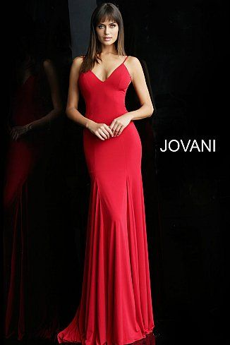 cfa5758042f jovani Red Backless Spaghetti Straps Prom Dress 63564