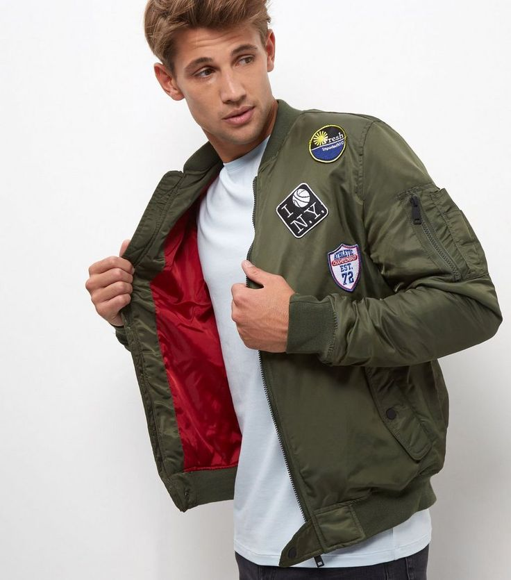 Khaki Badge Bomber Jacket    New Look