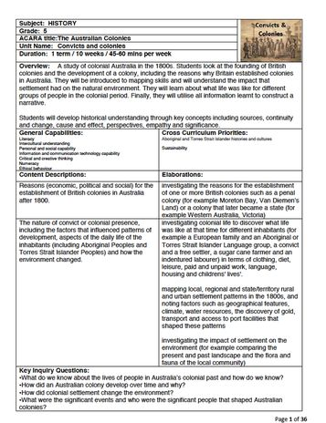 YR5. The Australian Colonies_Convicts and Colonies - Just Teach HQ Term Packs: Complete Resources for 1 complete Term for a Year/ Grade Level - including lesson plans, unit plan & associated worksheets.