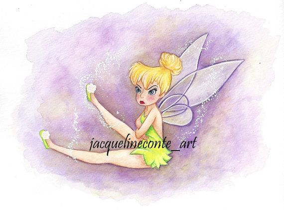 Sassy Tinkerbell Watercolor Painting Print Tinkerbell