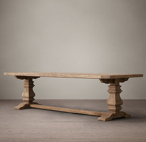 """Salvaged Wood Trestle Rectangular Extension Dining Table...it comes in a 60"""" for my small dining space!! Salvaged natural with a black bench and two white slipcovered chairs"""