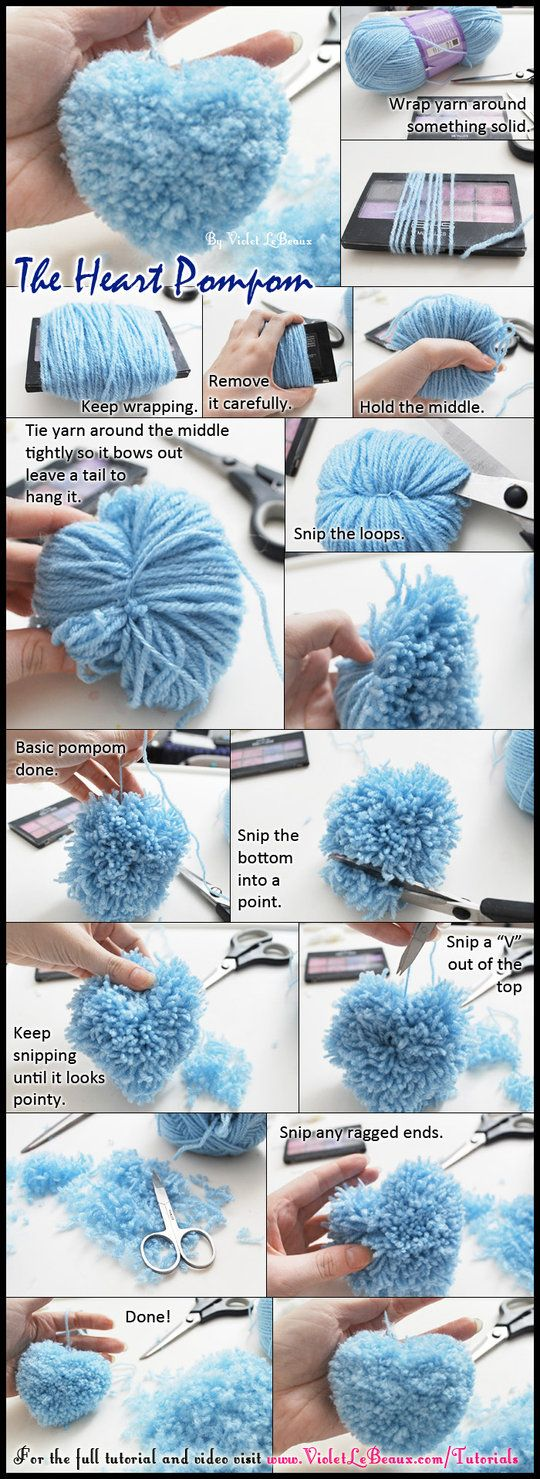Turning all of my old tutorials into one image versions like this! There's a long whiny story about how I almost bought a stupid gadget to make these heart shaped pompoms but turns out that's borin...