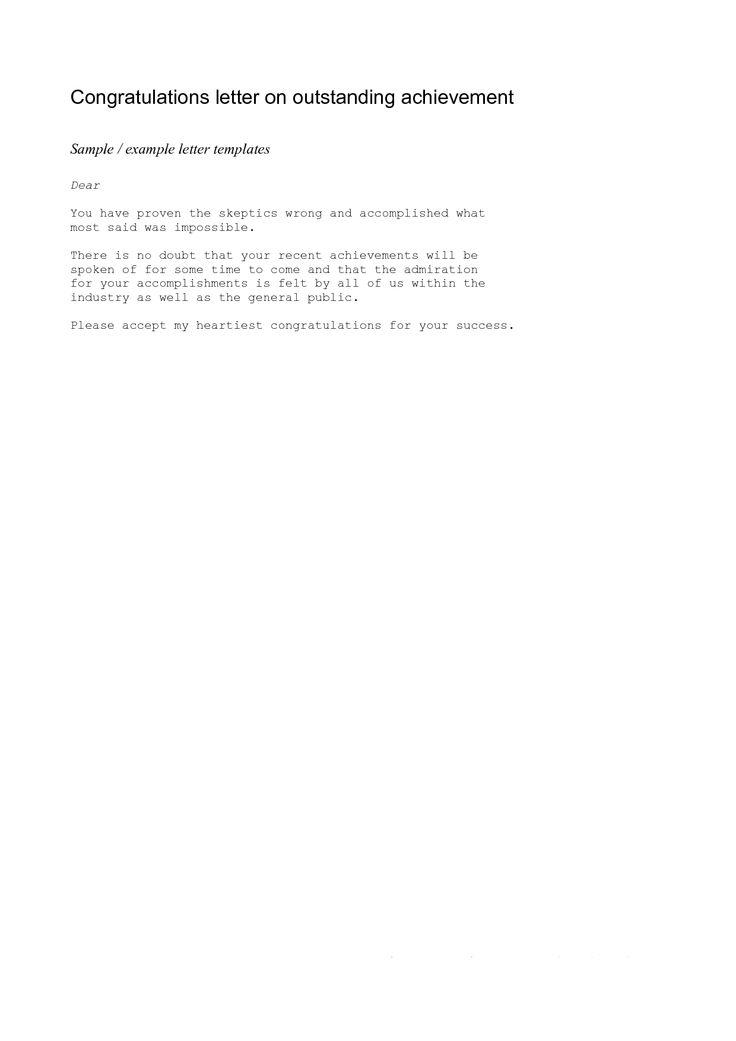 Achievement Congratulations Letter