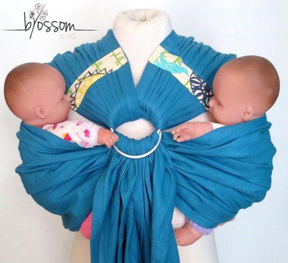 TwinSling Blossom, Ring sling double, sling pour jumeaux, porte-bébé pour jumeaux, portage double