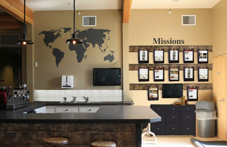 mission wall design - i like the map on the wall.  could be cool to get a big map of the City of Wichita like that?  and then put our mission statement under it...