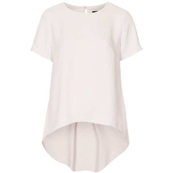 TOPSHOP Formal Stepped Hem Tunic ($51) ❤ liked on Polyvore featuring tops, tunics, topshop, shirts, tunic, blusa, nude, topshop tops, short sleeve tops and short sleeve shirts