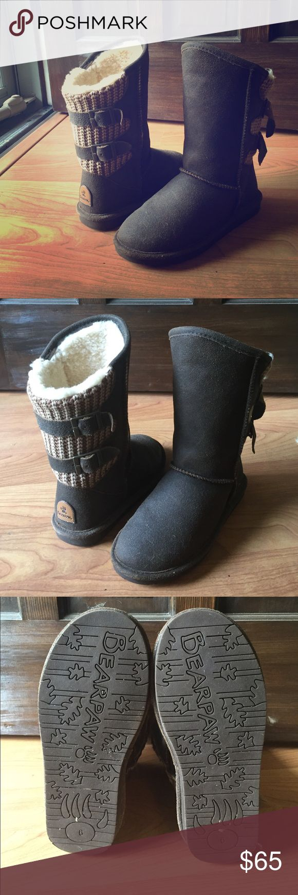 LIKE NEW bearpaw boots Super cute boots with a high-low cut and a sweater accent with buckle straps. Like new! Purchased as a gift for my grandma and she wasn't about that life. Worn once as to not hurt my feelings. Oh well, your gain! BearPaw Shoes Winter & Rain Boots
