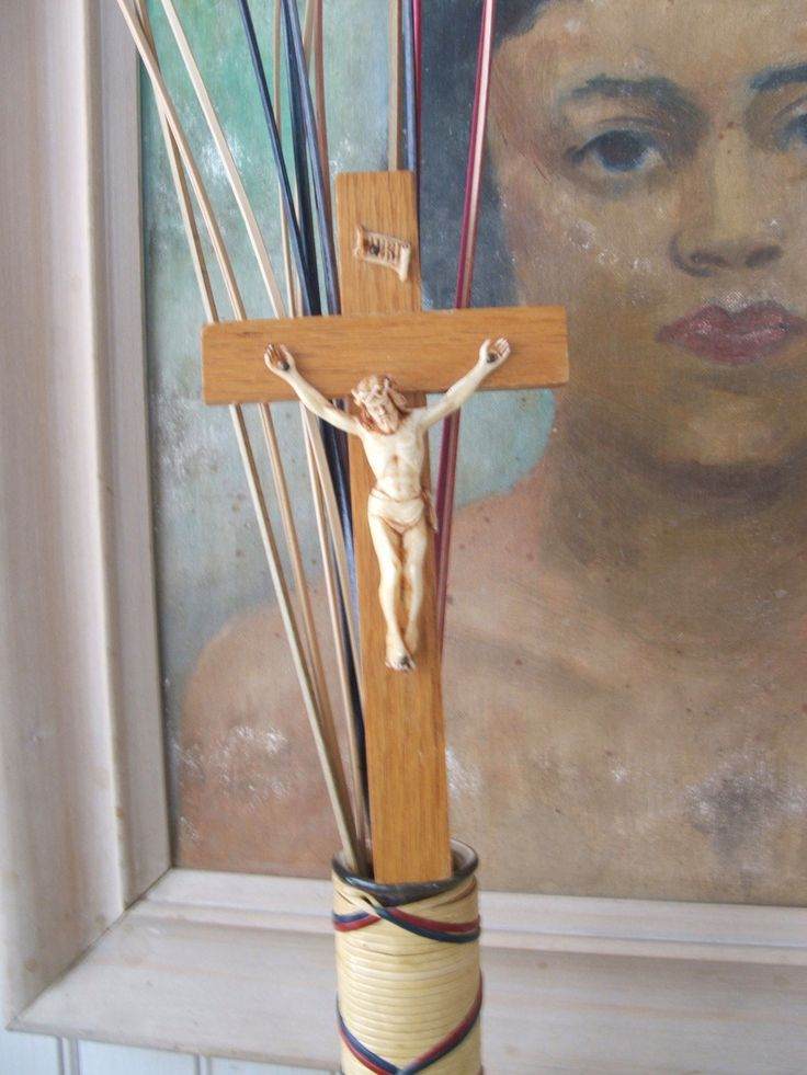Vintage Crucifix Wood Cross and Celluloid Plastic Jesus INRI by lookonmytreasures on Etsy