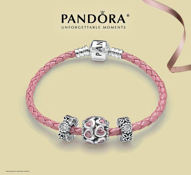 pink pandora leather bracelet available at benson diamond jewelers httpbensondiamondjewelers - Pandora Bracelet Design Ideas