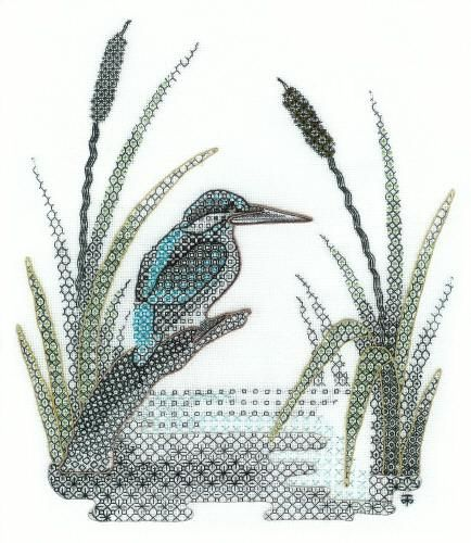 Blackwork Kingfisher Embroidery, Counted Thread Using Metallic Threads and Blackwork Designs