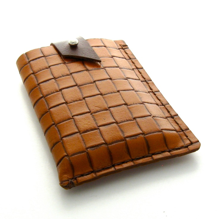 Brown Leather iPhone Case, A Handmade Leather Cell Phone Case in Brown and Caramel. $24.00, via Etsy.