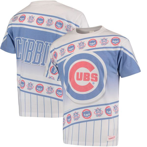 Chicago Cubs Mitchell & Ness Wild Pitch T-Shirt - White/Royal - $49.99