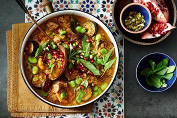 Persian lamb, eggplant and freekah stoup