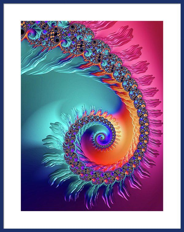 Colorful happy spiral Framed Print: Beautiful colored fractal spiral, turquoise, pink, purple, blue and orange tones. Lots of different image sizes and frames available, every purchase comes with a 30 days money back guarantee. (c) Matthias Hauser hauserfoto.com - Art for your Home Decor and Interior Design needs.