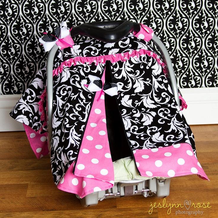 Pink & Balck damask Baby Car Seat Cover