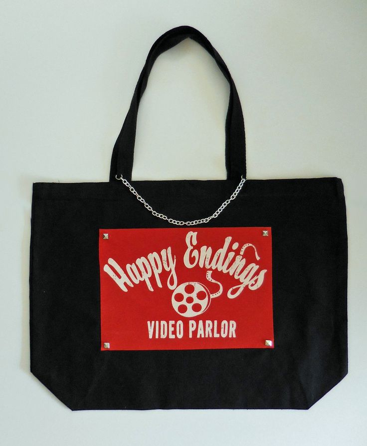 Happy Endings Video Parlor Upcycled Vintage T-Shirt Tote Bag