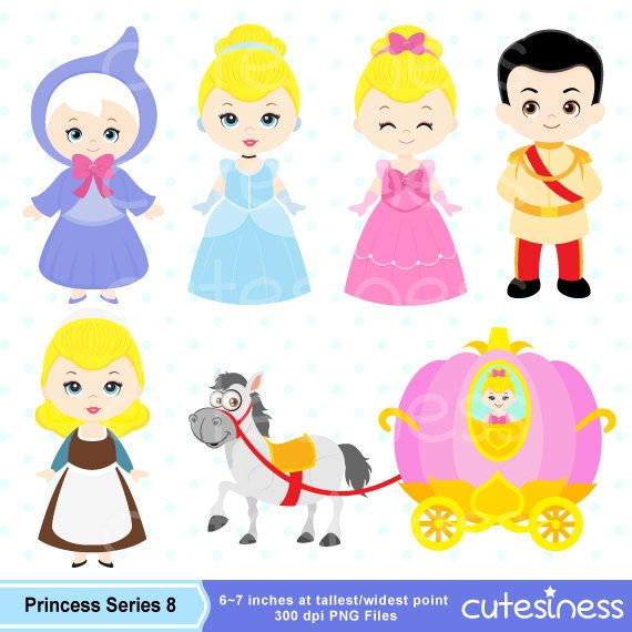 Princess Digital Clipart Princess Clipart Cinderella by Cutesiness, $6.00